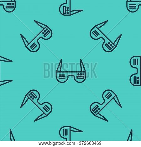 Black Line Smart Glasses Mounted On Spectacles Icon Isolated Seamless Pattern On Green Background. W