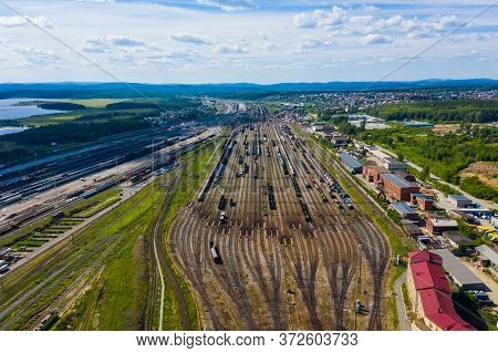 Huge Logistics Station For Making Up Trains, A View From A Drone Perspective. Transport Hub In The C
