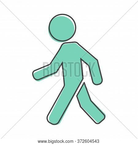 Vector Icon Of A Walking Pedestrian. Illustration Of A Walking Man Cartoon Style On White Isolated B