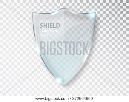 Glass Shield Sign On Transterent Background. Security Glass Label. Glass Shield Sign. Privacy Transp