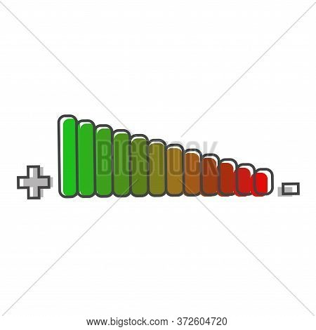 Vector Icon Adjustment Of Loudness Cartoon Style On White Isolated Background.