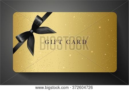 Gift Card With Twinkling Stars, Sparkling Elements And Back Bow (ribbon) On Gold Background. Golden