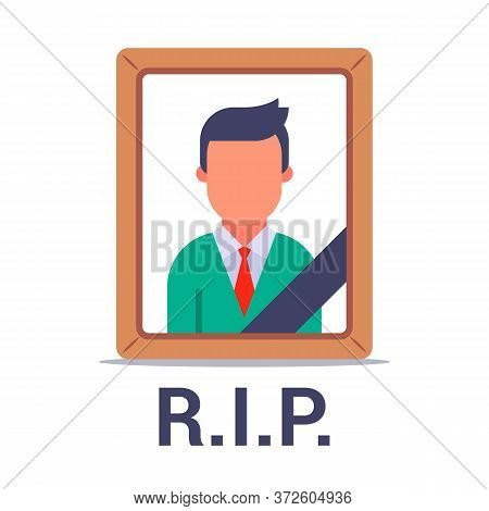 Photo Of A Dead Man With A Black Ribbon. Wake Of The Dead. Flat Vector Illustration Isolated On Whit