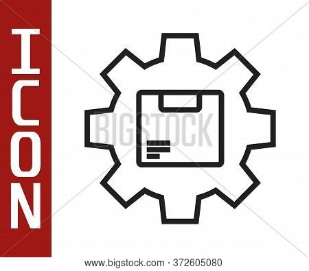 Black Line Gear Wheel With Package Box Icon Isolated On White Background. Box, Package, Parcel Sign.