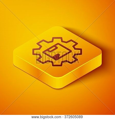 Isometric Line Gear Wheel With Package Box Icon Isolated On Orange Background. Box, Package, Parcel