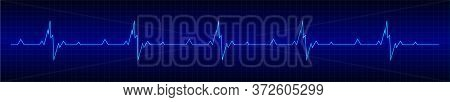 Heart Rhytm. Blue Electrocardiogram. Heartbeat. Heartbeat Line. Vector Illustration.
