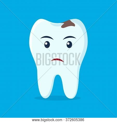 Tooth With Caries Icon. Unhappy Cute Tooth Character. Caries Tooth. Dental Personage Vector Illustra