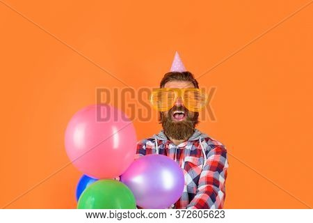 Man On Party. Happy Birthday Celebrating Concept. Party Time. Holidays And Celebration, Party. Beard
