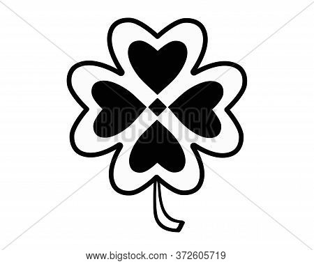 Four-leafed - Vector Black And White Symbol For Logo Or Pictogram. Four Leaf Clover - A Silhouette F