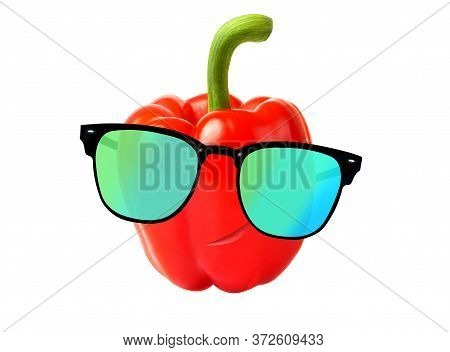 Cool Dude Concept With A Red Pepper In A Sunglasses. Spoof With A Cool Pepper Isolated On White.