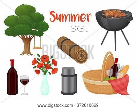 Collection Of Picnic Accessories On A White Background. Basket, Barbecue, Flowers, Tree. Isolated Ob