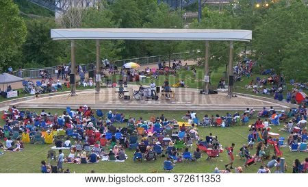 Musicians On Stage At Nashville Cumberland Park - Nashville, Usa - June 17, 2019