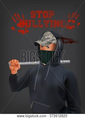 A Teenage Boy In A Hoodie And Mask With A Baseball Bat Standing In Front Of A Gray Background With A