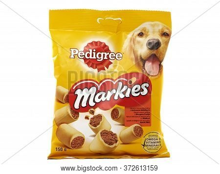 Bucharest, Romania - December 8, 2016. Pedigree Markies Marrowbone Snacks, Dog Food Pouches. Pedigre