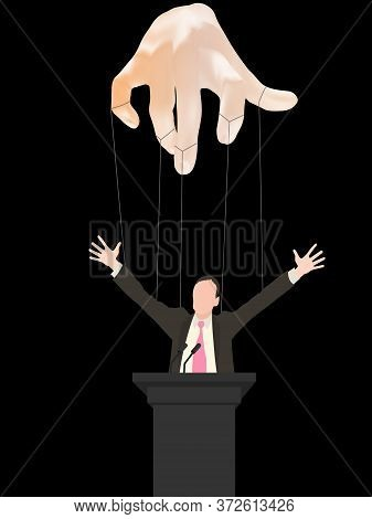 Business Executive, Businessman Or Politician With Hands Tied With Strings Like A Puppet. Realistic