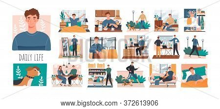 Series Of Sequential Scenes Showing The Daily Life Of A Young Man From Waking Up To Going Back To Be