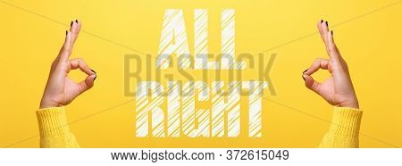Hand Ok Sign Over Trendy Yellow Background, All Right Concept, Panoramic Image