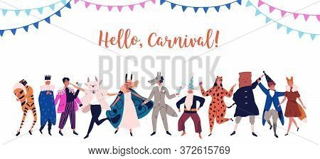 Festive Man And Woman Standing In Costumes For Masquerade Vector Flat Illustration. Group Of Joyful