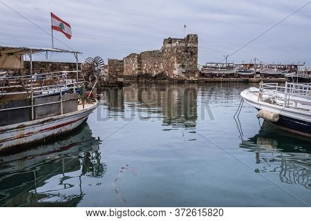 Marina Of Byblos, Lebanon, One Of The Oldest City In The World, View With Ancient Ruins