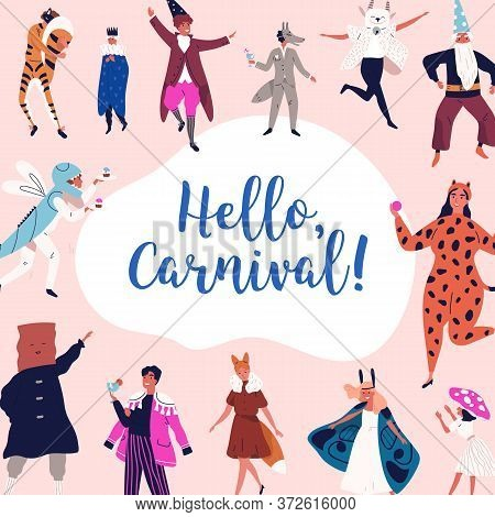 Festive People In Mask And Carnival Apparel Celebrating Holiday Vector Flat Illustration. Happy Man