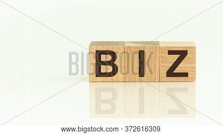 Wooden Blocks With The Text: Biz. The Text Is Written In Black Letters And Is Reflected In The Mirro