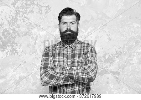 Individual Style. Barber Salon. Hipster With Beard And Mustache Wear Blue Shirt. Grooming Service Co