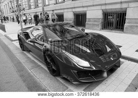 Hamburg, Germany-july 27, 2019: Supercar Red Ferrari 488 Pista Parked At The Street In Hamburg, Germ
