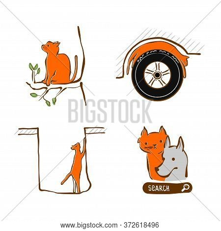 Vector Illustration Design For Pet Rescue Service. Cat Stuck At Tree, In Hole Sleeping On Wheel A Ca