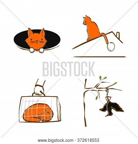 Vector Illustration Design For Pet Rescue Service. The Cat Fell Into A Hole, Sleeping In Pet Carrier