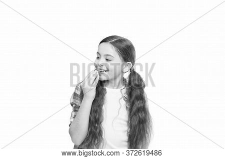Be Simply Beautiful. Little Beauty Isolated On White. Small Girl Put Lip Balm. Lip Care. Face Beauty