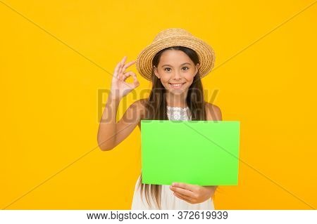 Join Event. Kid Traveler. Summer Sales. Happy Little Girl Hold Poster Copy Space. Vacation Time. Gir