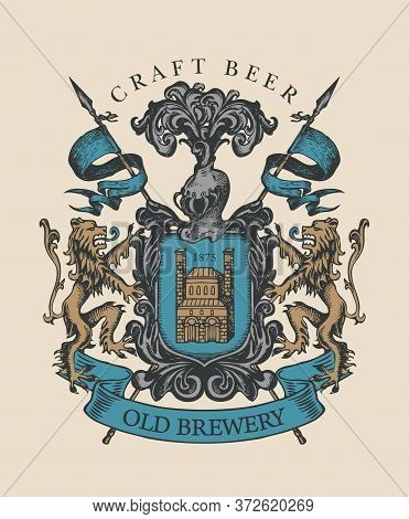 Old Brewery Coat Of Arms In Vintage Style. Hand-drawn Illustration On Craft Beer Theme. Suitable For