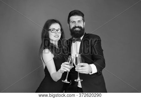 Occasion To Celebrate. Couple In Love Drink Sparkling Wine. Spouse Hold Glass. Family Celebrate Vale