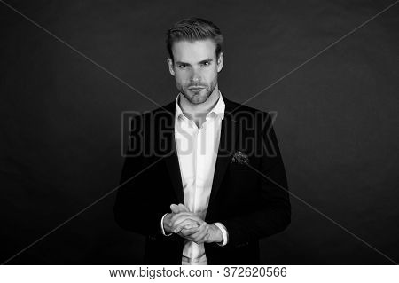 Think Fashionable Yet Functional. Businessman Dark Background. Businessman In Classy Style. Handsome