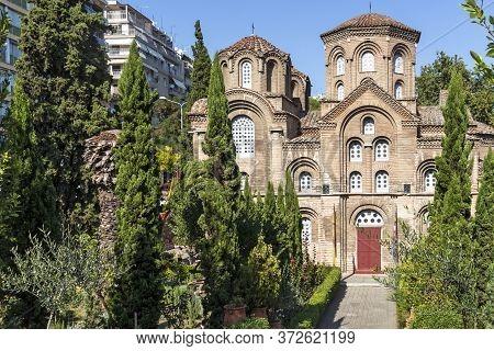 Thessaloniki, Greece - September 22, 2019: Ancient Byzantine Church Of Panagia Chalkeonin The Center