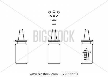 Line Icon, Symbol. Spray Bottle With Medicament