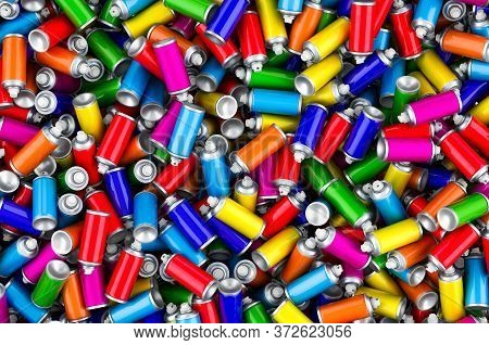 Background From Colored Spray Paint Cans Topview, 3d Rendering