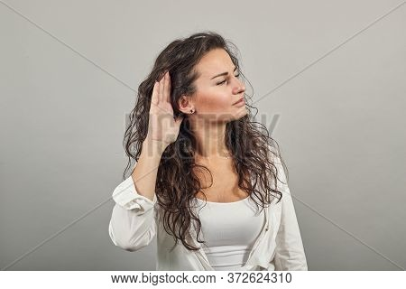 Eavesdropping, Espionage, Gossip, Holding Hand Near Head And Looking Away, What, Relying On Hand-ear