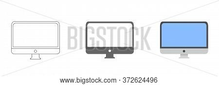 Monitor Vector Icon. Monitor For Watching Videos. Monitor Screen For Watching Movies Icon
