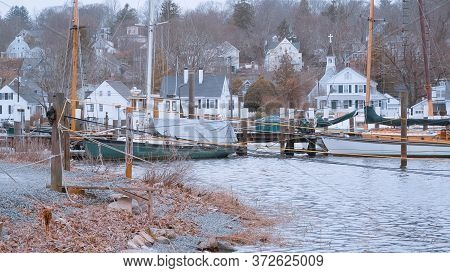 Mystic River At Historic City Of Mystic