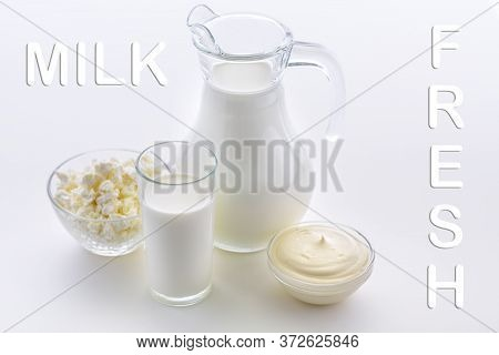 Fresh Sour Cream And Cottage Cheese Along With Useful Goats Milk. Dairy Products Support Bone Health