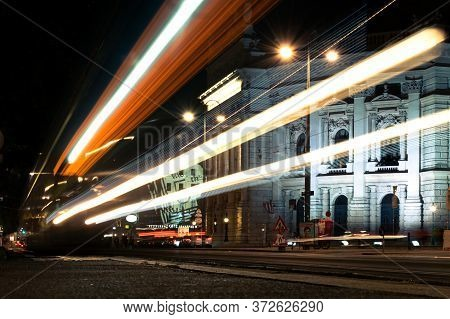 Vienna, Austria - August 27, 2019. Vienna Night With Traces Of Lights From Vehicles