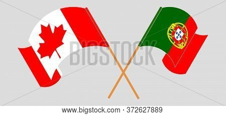 Crossed And Waving Flags Of Portugal And Canada. Vector Illustration