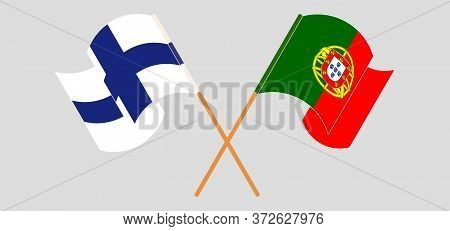 Crossed And Waving Flags Of Portugal And Finland. Vector Illustration