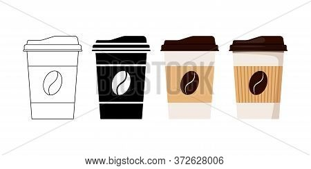 Coffee Cup Designed Coffee Grain With Lid And Kraft Holder Icon Set Isolated On White Background. Di