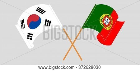 Crossed And Waving Flags Of Portugal And South Korea. Vector Illustration