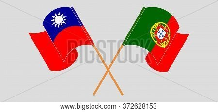 Crossed And Waving Flags Of Portugal And Taiwan. Vector Illustration