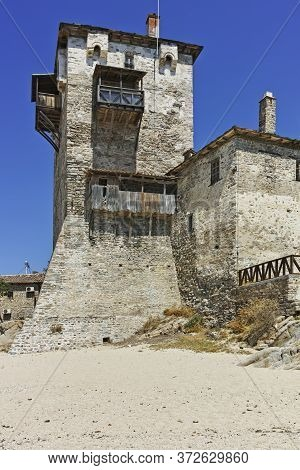 The Old Tower In Town Of Ouranopoli, Athos, Greece