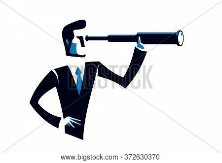 Businessman Looking For Opportunities In Spyglass Business Concept Vector Illustration, Young Handso