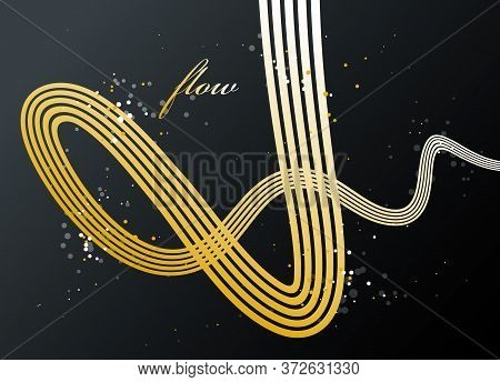 Abstract Golden Lines In 3d Motion Dimensional Perspective Vector Background, Gold Elegant Curvy Lig
